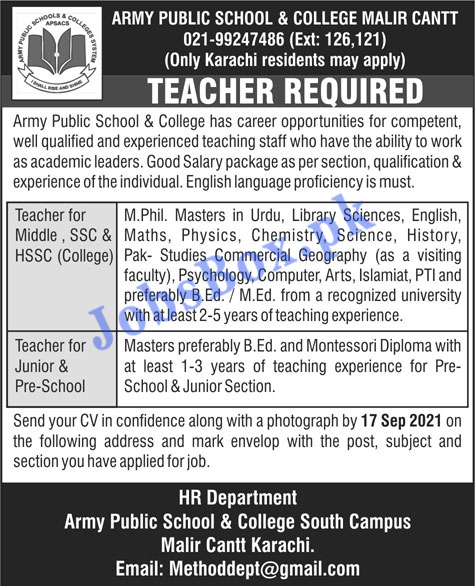 Army Public School and College Malir Cantt Jobs 2021 in Pakistan