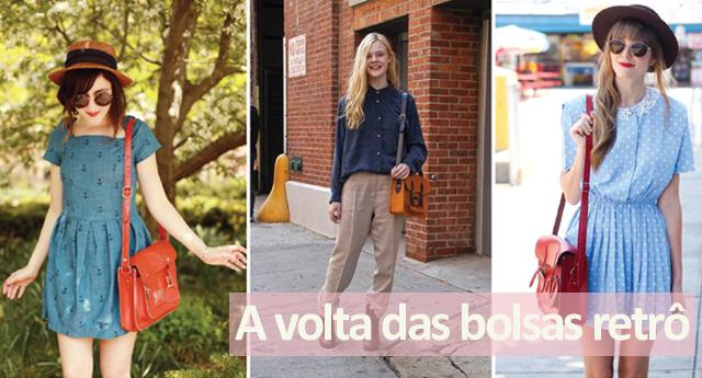 Fashionistas usando bolsas femininas vintage com looks atuais.