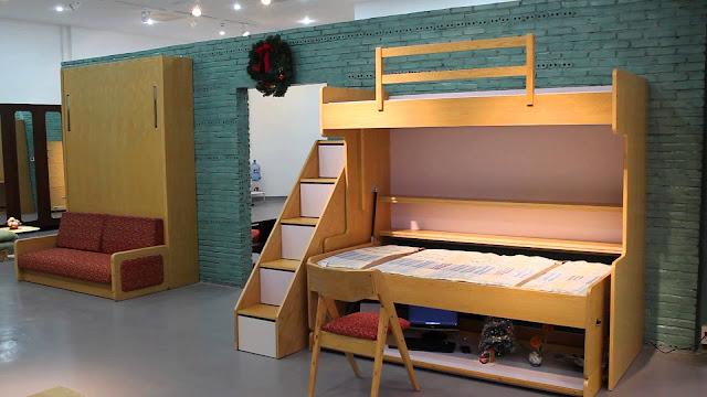 Mẫu giường tầng kết hợp bàn học có đến hai giường ngủ tiện lợi