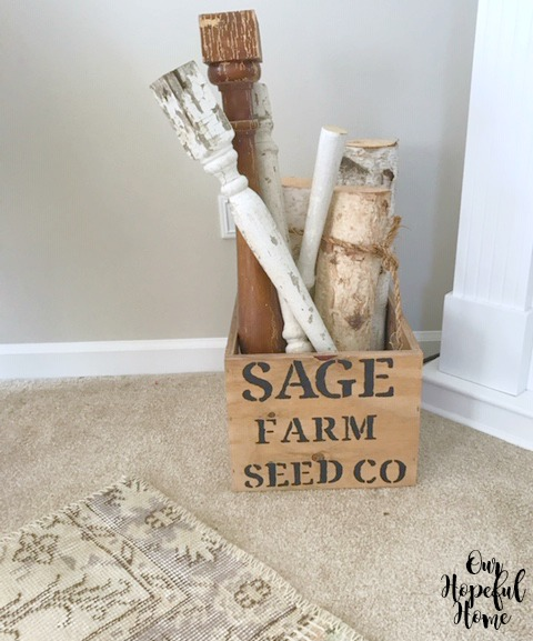 Sage Farm Seed Co. stenciled wooden box spindles white birch logs fall decor