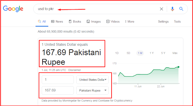 currency conversion using google search engine