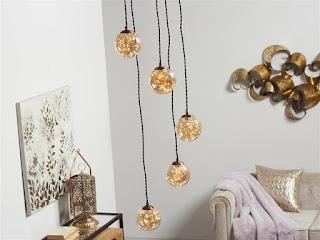 Lampara moderna en bolas de cristal leds oro