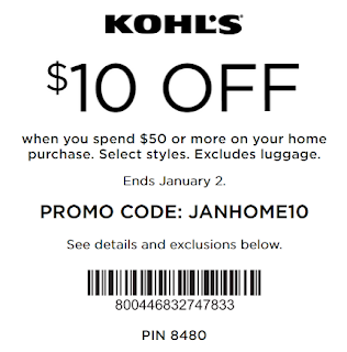 Kohls coupon $10 OFF $50 Home Department Purchase