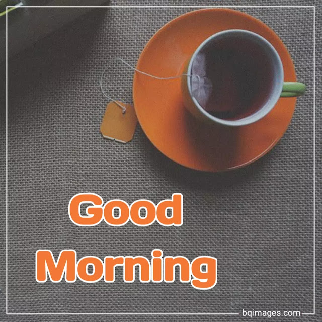 good morning with tea cup