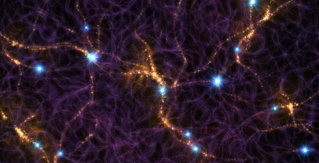 This artist's impression shows part of the cosmic web, a filamentary structure of galaxies that extends across the entire sky. The bright blue, point sources shown here are the signals from Fast Radio Bursts (FRBs) that may accumulate in a radio exposure lasting for a few minutes. The radio signal from an FRB lasts for only a few thousandths of a second, but they should occur at high rates. Credit: M. Weiss/CfA