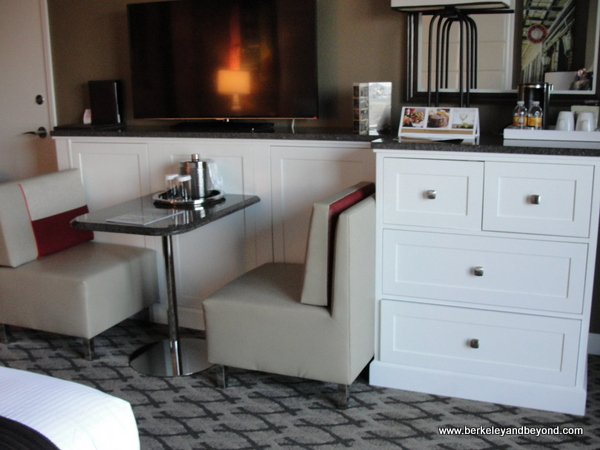 dining booth in guest room at Golden Nugget casino-hotel in Lake Charles, Louisiana