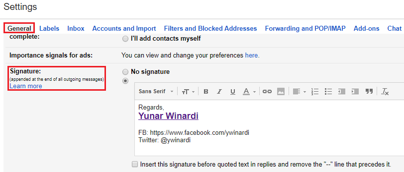 ow to add signature in gmail