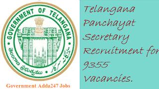 Telangana Panchayat Secretary Recruitment for 9355 Vacancies.