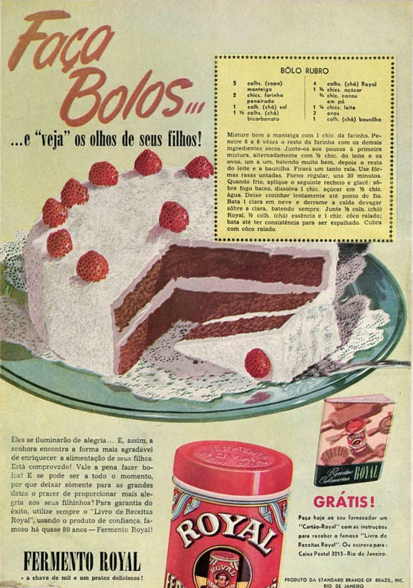 Propaganda antiga do Fermento Pó Royal veiculada em 1947