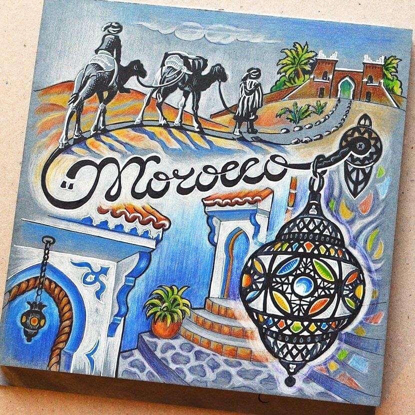 06-Morocco-Anna-Cheberiak-Travel-Journal-Countries-Plus-Fantasy-Drawings-www-designstack-co