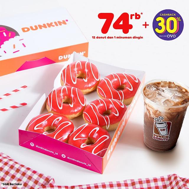 #DunkinDonuts - #Promo 12 Donut & 1 Minuman Hanya 74K + Cashback 30% Pakai OVO (17 Agustus 2019)