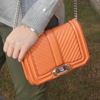 olive green jeans, Rebecca Minkoff chevron quilted small Love crossbody bag in pale coral | away from the blue