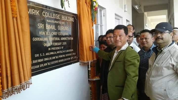 Bimal Gurung inaugurated the newly constructed two storied Mirik Degree College building