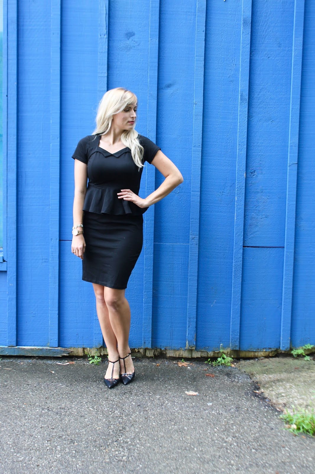 work appropriate black peplum dress