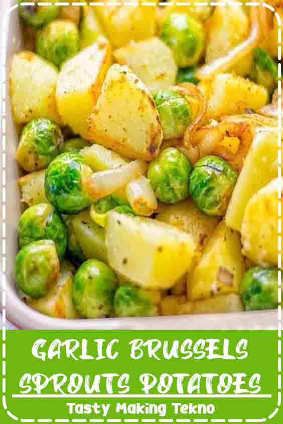 These Garlic Brussels Sprouts Potatoes are entirely vegan, gluten free, and so easy to make. A perfect warming dish for the holiday season, but also all-year long.