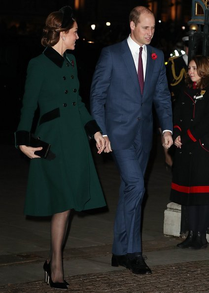 Kate Middleton, Meghan Markle, Prince William, Prince Harry, Queen Elizabeth attend Armistice Day 2018. Catherine Walker coat