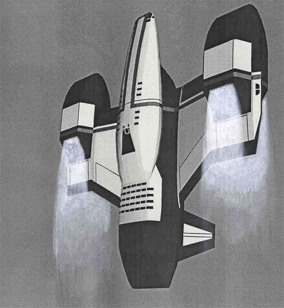 Mars shuttle concept for Total Recall (1990) movie by Ron Cobb.