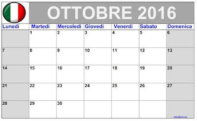 """Calendario Ottobre 2016 da stampare """"Classico"""" Calendario Ottobre 2016 gratuito per stampare Tranquillo blu Lunedi"""