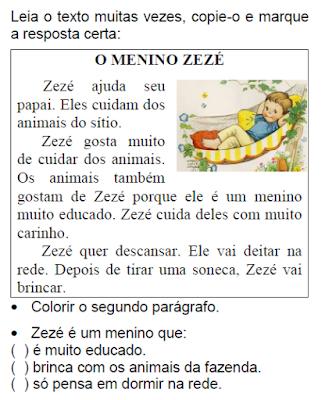 Texto O MENINO ZEZÉ, de Elisângela Terra