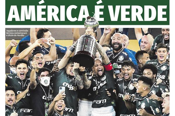 Palmeiras Campeão: Manchete do jornal Agora SP