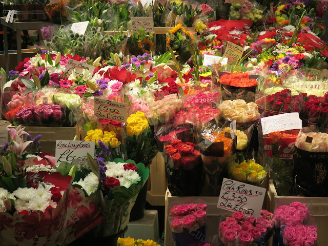 Roses and mixed bunches on flower stall, Kirkgate Market, Leeds