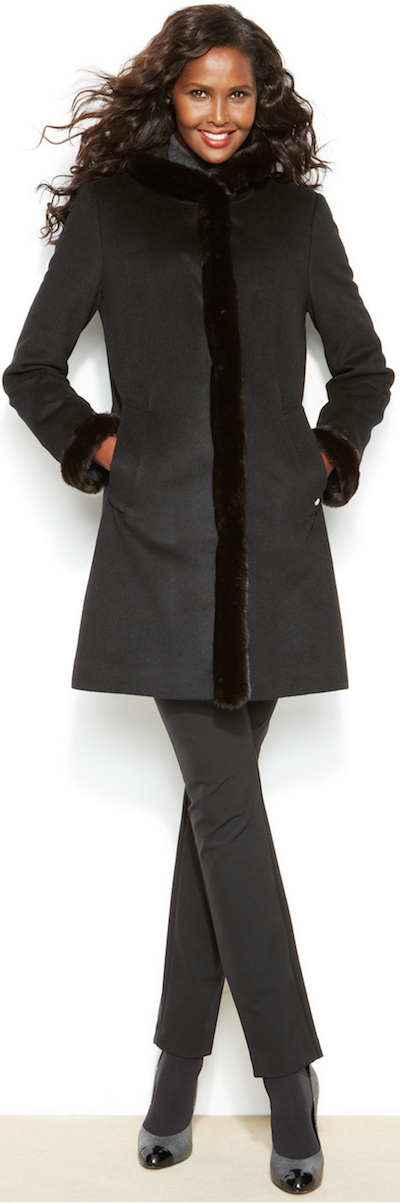 Ellen Tracy Faux Fur Trimmed  Car Coat