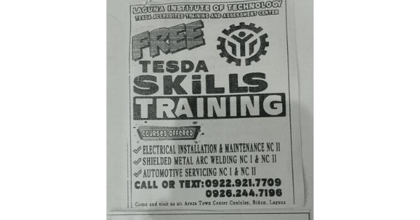 Free Skills Training with P160 Allowance and Toolkit Laguna