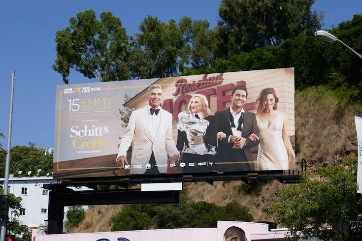 Schitts Creek final season Emmy nominee billboard