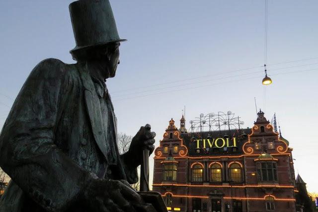 Copenhagen in Winter: Hans Christian Andersen statue near Tivoli Gardens