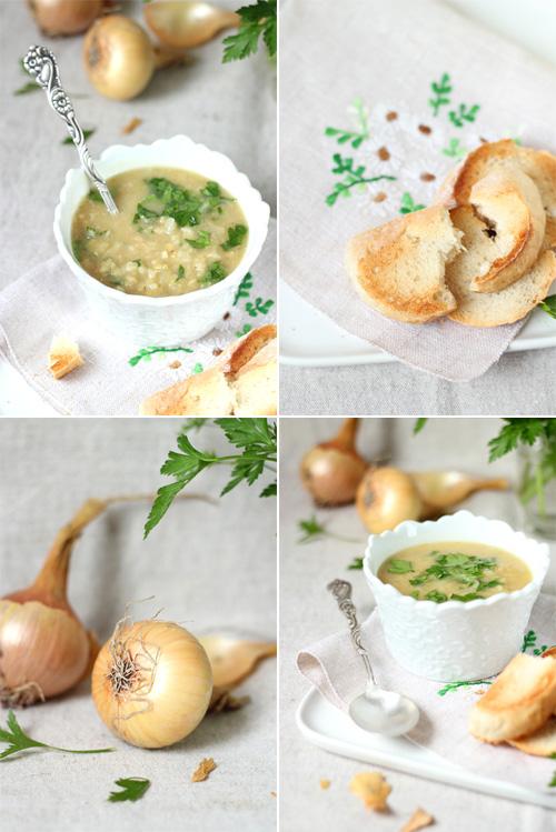 zupa z czerwonej soczewicy i karmelizowanej cebuli