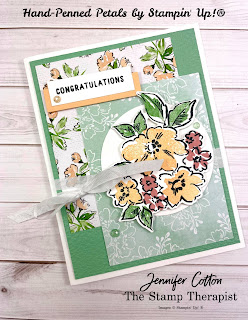 This congratulations card uses Stampin' Up!'s Hand-Penned Petals Bundle (plus Hand-Penned Petals Memories & More card pack & Genial Gems).  I made this card on my weekly Facebook Live.  Supply list and measurements on the blog (with link to YouTube video).  #StampinUp #StampTherapist #HandPennedPetals