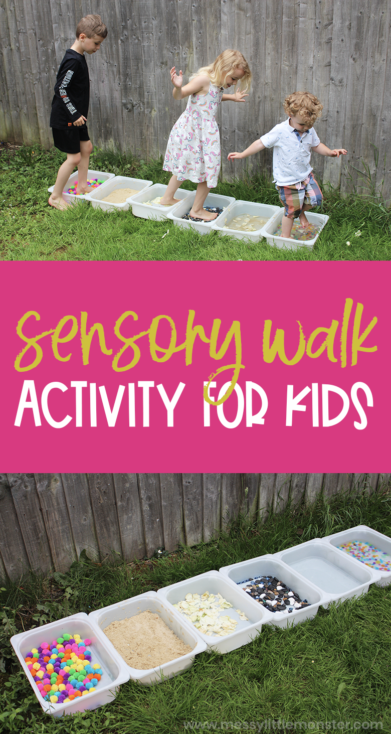 Sensory walk for kids. 5 senses activities - sense of touch activity.