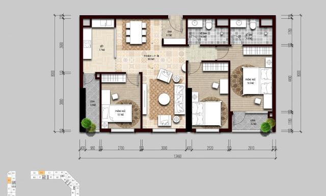 Thiết kế điển hình căn hộ 3 ngủ The Emerald