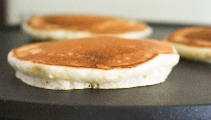 Scotch pancakes on a crepe maker.