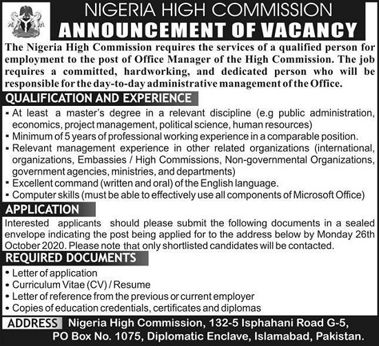 nigeria-high-commission-jobs-2020-islamabad-latest-advertisement