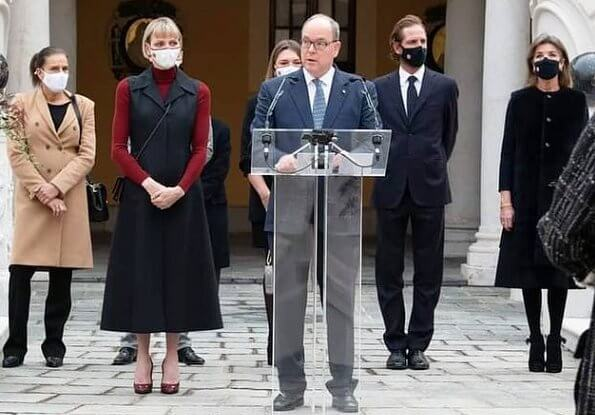 Prince Albert, Princess Charlene, Princess Caroline, Princess Stephanie, Charlotte Casiraghi and Beatrice Borromeo at National Day 2020