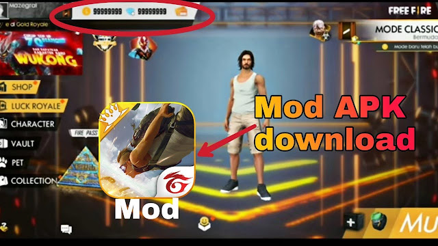 Free Fire mod APK Unlimited Diamonds and Coins Download