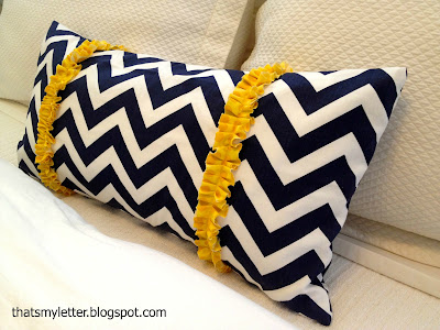 diy ruffle trimmed chevron pillow