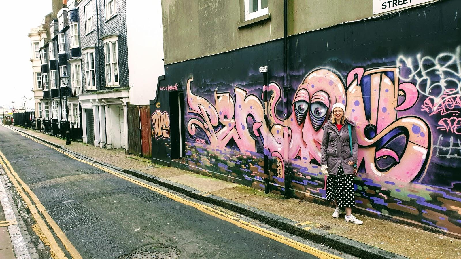 Pink Squid Street Art In Brighton