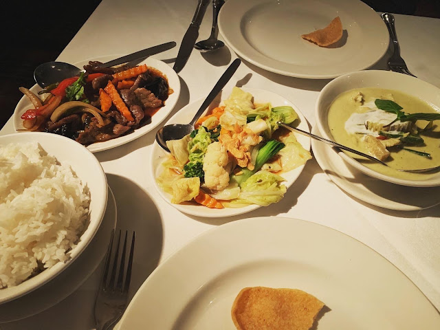 Thai green curry, stir-fried beef, mixed vegetables and Thai rice