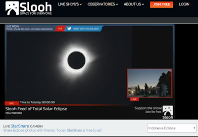 screen grab of SLOOH webcast during the eclipse
