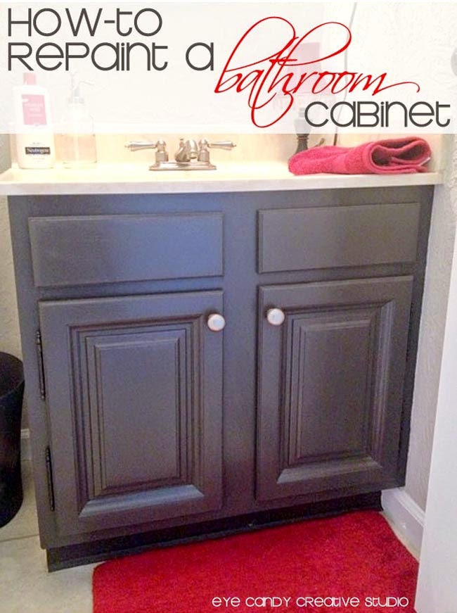 repainting a bathroom cabinet, bathroom makeover, DIY bathroom