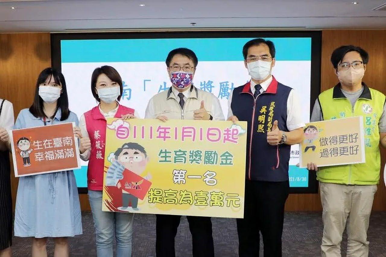 台南提高生育獎勵 2022開始首胎由6000提升到10000
