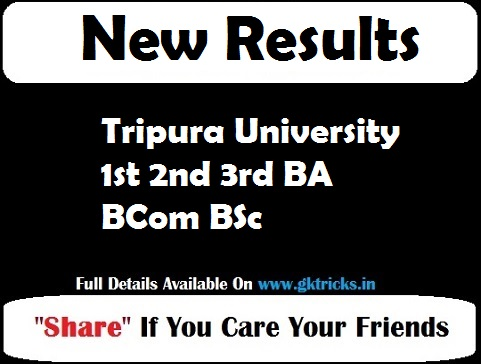 Tripura University 1st 2nd 3rd BA BCom BSc