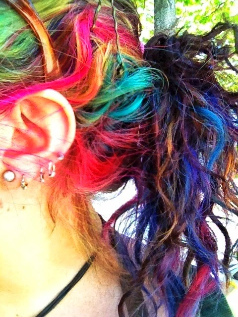 "Rainbow hair, multiple piercings. Emo girl look for the Anime Emo Punk Tech Movement of 2054 in book series, ""The Biodome Chronicles"" by Jesikah Sundin (see board for ""Legacy"", ""Elements"" and ""Gamemaster"")"