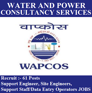 Water Resources Power and Infrastructure Sectors, WAPCOS, 12th, DEO, Data Entry Operator, Site Engineer, freejobalert, Sarkari Naukri, Latest Jobs, wapcos logo