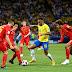 At half time, its Belgium 2 : 0 Brazil