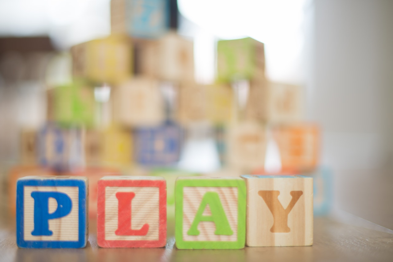 Wooden blocks that spell play