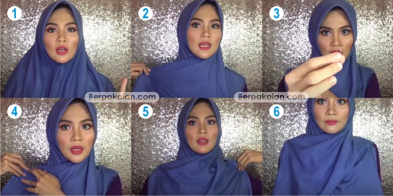 Tutorial Hijab Segi Empat Menutup Dada Ala Ria Ricis Gamis Kombinasi
