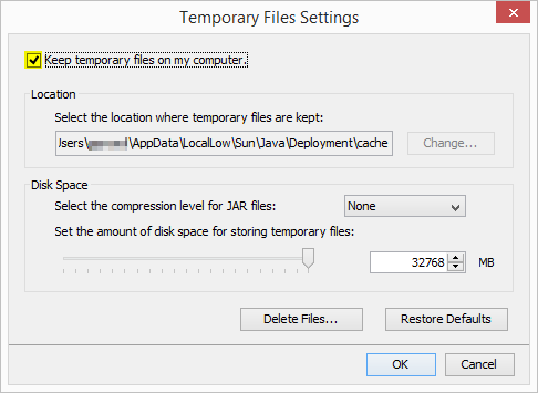 Java Keep temporary files on my computer